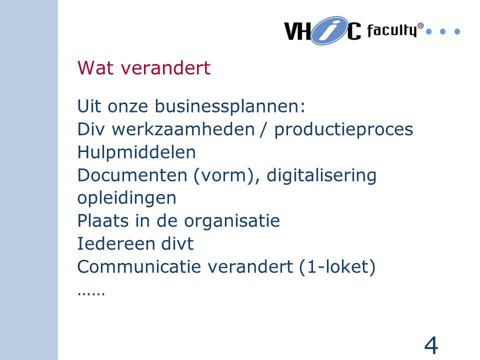4 Wat verandert Uit onze businessplannen: Div werkzaamheden / productieproces Hulpmiddelen Documenten (vorm), digitalisering opleidingen Plaats in de