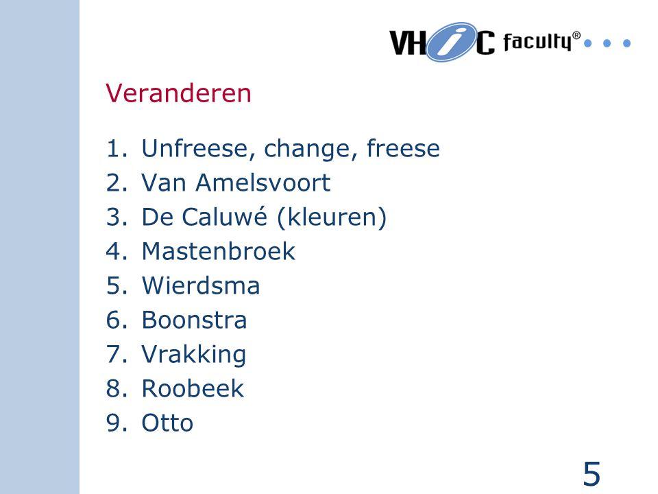 5 Veranderen 1.Unfreese, change, freese 2.Van Amelsvoort 3.De Caluwé (kleuren) 4.Mastenbroek 5.Wierdsma 6.Boonstra 7.Vrakking 8.Roobeek 9.Otto