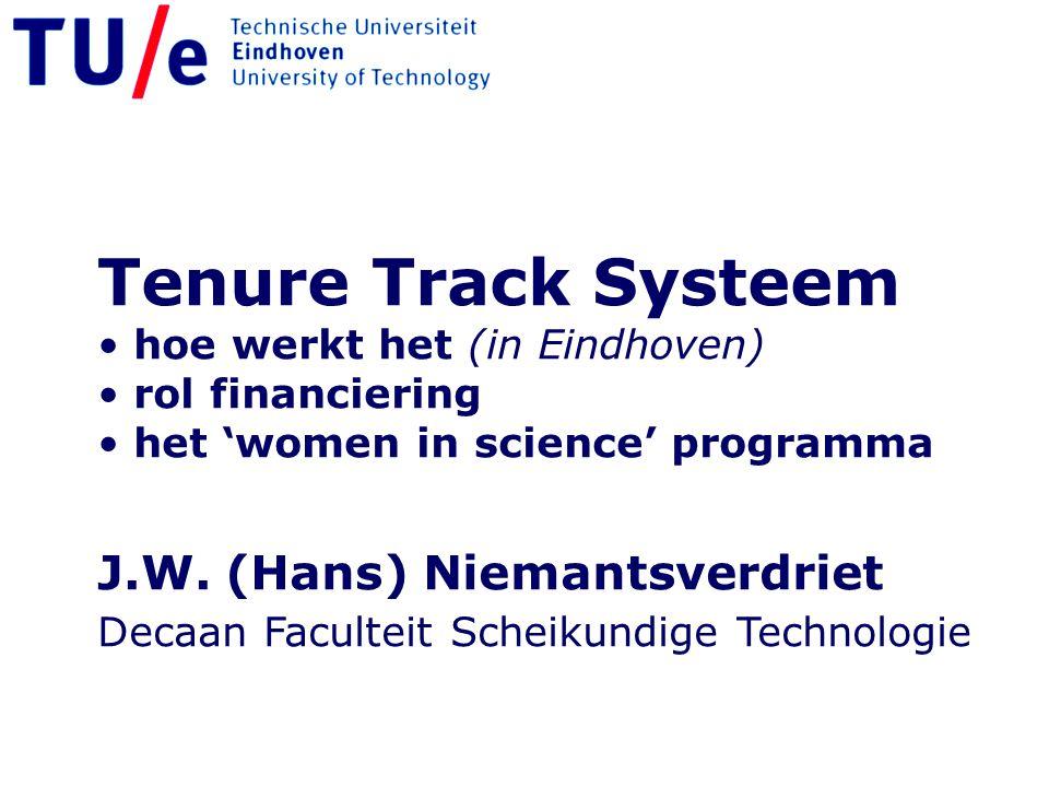 Tenure Track Systeem hoe werkt het (in Eindhoven) rol financiering het 'women in science' programma J.W. (Hans) Niemantsverdriet Decaan Faculteit Sche