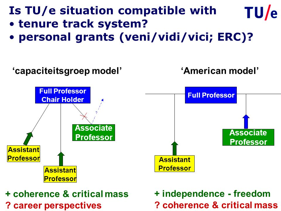 Is TU/e situation compatible with tenure track system? personal grants (veni/vidi/vici; ERC)? + coherence & critical mass ? career perspectives + inde
