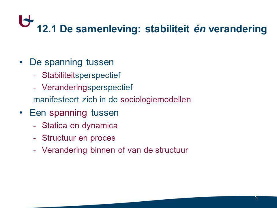 6 Stabiliteitsperspectief Stelling -Er is een aanwezigheid in de samenleving van relatief constante patronen.