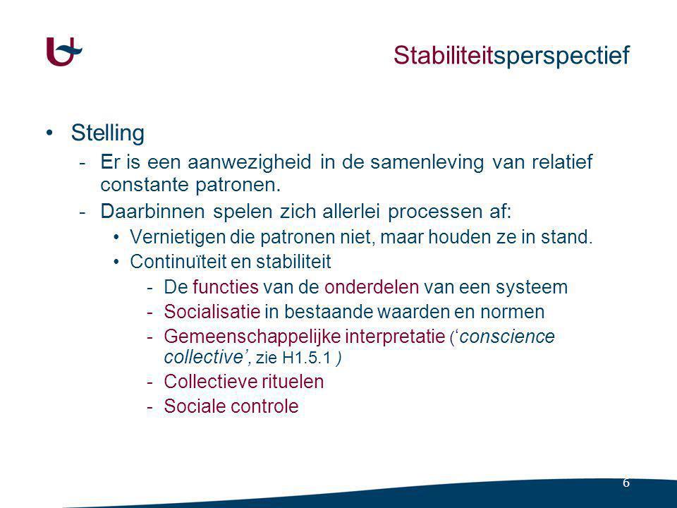 7 Veranderingsperspectief Stelling -Aandacht voor tegenstellingen en conflicten.