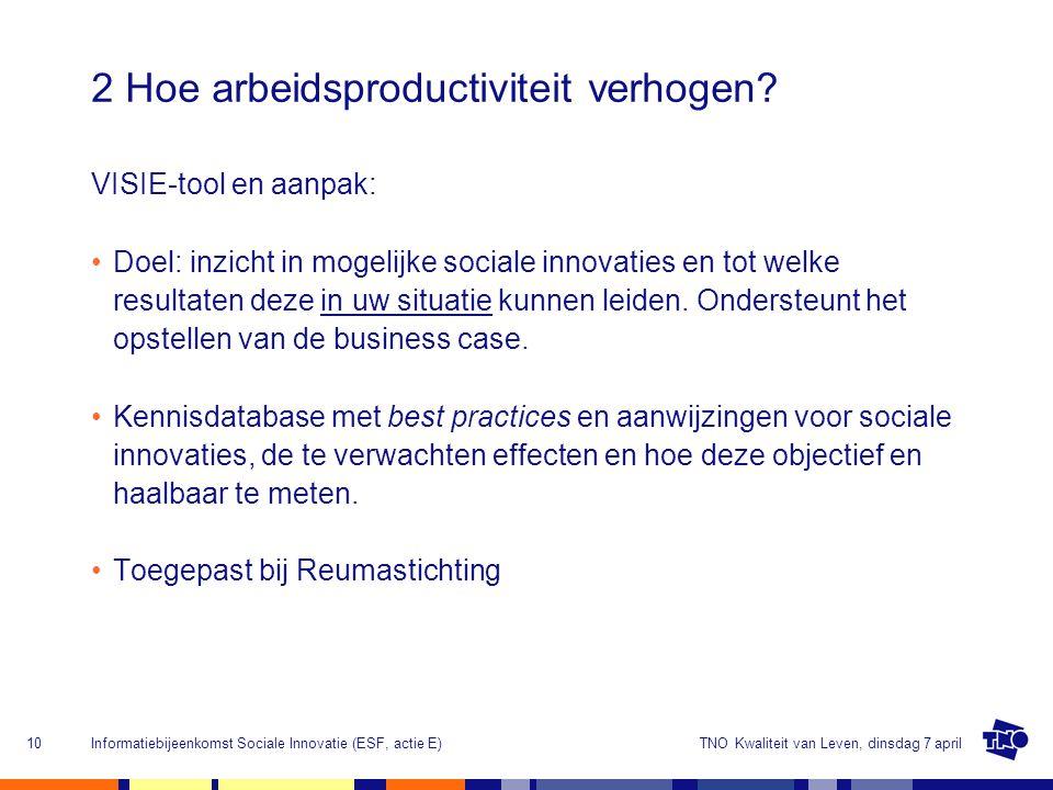 TNO Kwaliteit van Leven, dinsdag 7 aprilInformatiebijeenkomst Sociale Innovatie (ESF, actie E)10 2 Hoe arbeidsproductiviteit verhogen.