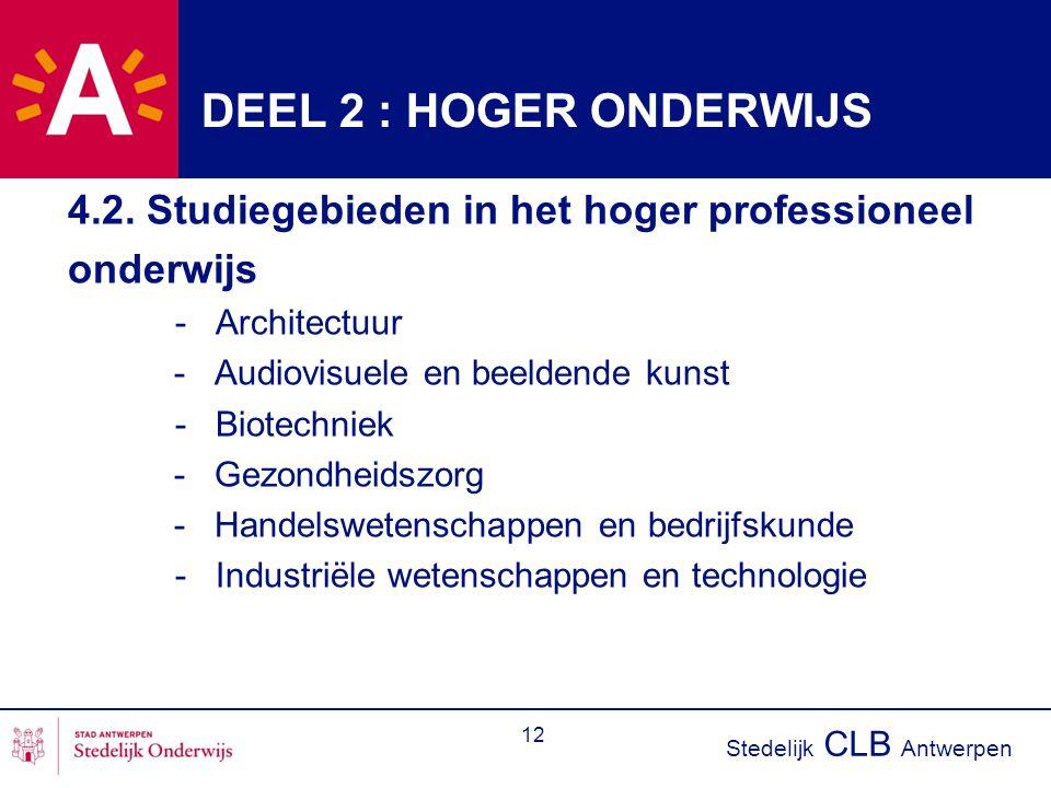 Stedelijk CLB Antwerpen 12 DEEL 2 : HOGER ONDERWIJS 4.2. Studiegebieden in het hoger professioneel onderwijs - Architectuur - Audiovisuele en beeldend