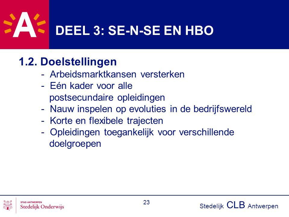 Stedelijk CLB Antwerpen 23 DEEL 3: SE-N-SE EN HBO 1.2. Doelstellingen - Arbeidsmarktkansen versterken - Eén kader voor alle postsecundaire opleidingen