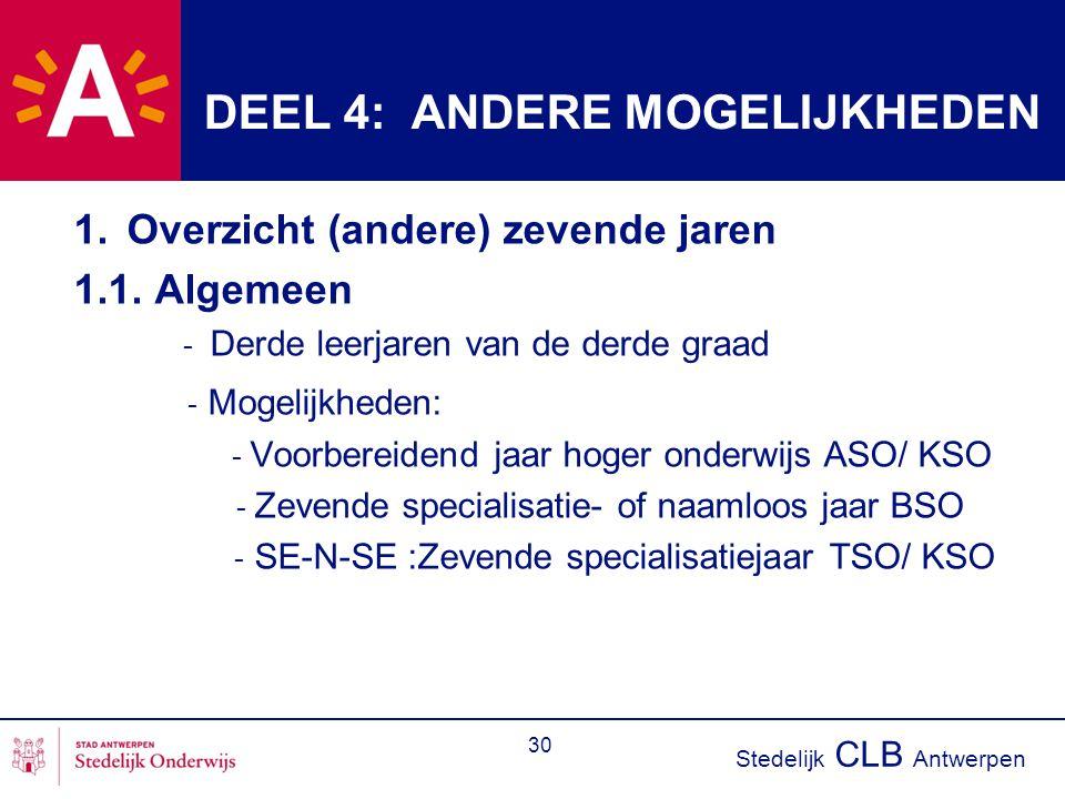 Stedelijk CLB Antwerpen 30 DEEL 4: ANDERE MOGELIJKHEDEN 1.Overzicht (andere) zevende jaren 1.1. Algemeen - Derde leerjaren van de derde graad - Mogeli