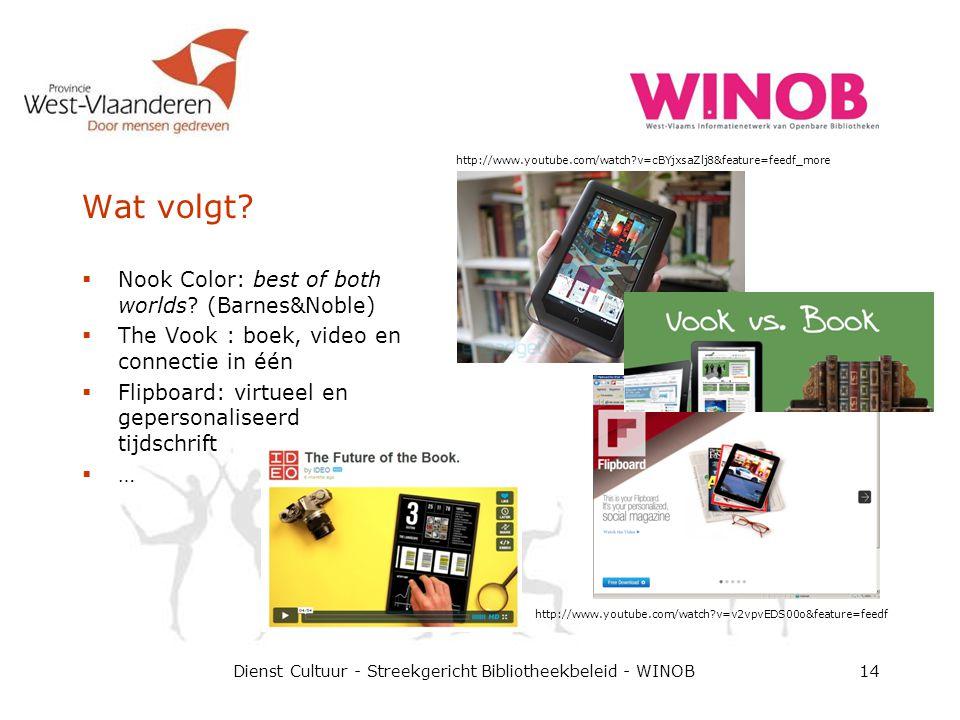 Wat volgt? Dienst Cultuur - Streekgericht Bibliotheekbeleid - WINOB14  Nook Color: best of both worlds? (Barnes&Noble)  The Vook : boek, video en co