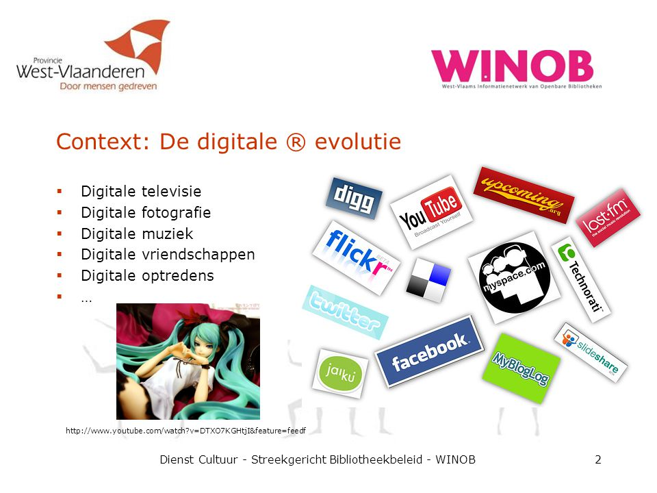 Context: De digitale ® evolutie  Digitale televisie  Digitale fotografie  Digitale muziek  Digitale vriendschappen  Digitale optredens  … Dienst