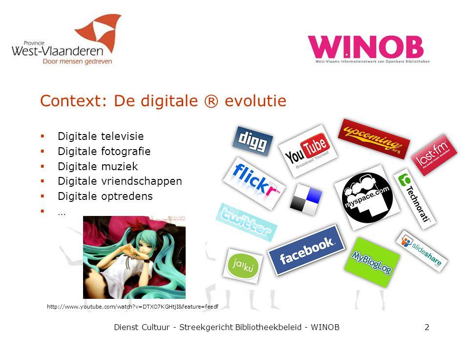Context: De digitale ® evolutie  Digitale televisie  Digitale fotografie  Digitale muziek  Digitale vriendschappen  Digitale optredens  … Dienst
