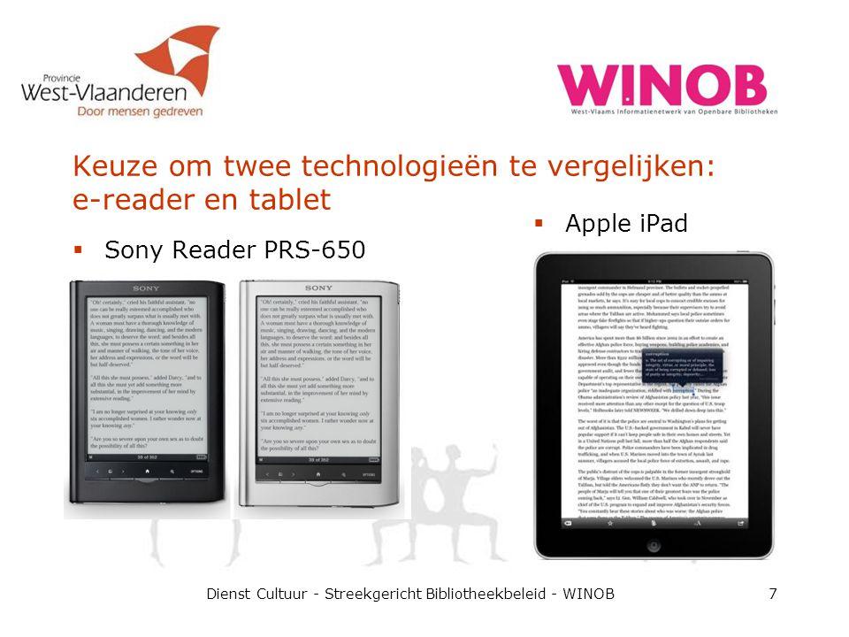 Techniek: e-inkt versus LCD  E-inkt  - Zwart-wit schermen met hoog contrast  - Trage respons  + Leescomfort: ook in zonlicht maar niet in duisternis Dienst Cultuur - Streekgericht Bibliotheekbeleid - WINOB8  LCD-schermen  + Kleur  + Snel  - Leescomfort:  Reflectie  Pixelisatie  Backlite