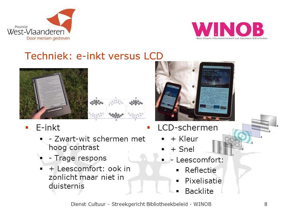 Techniek: e-inkt versus LCD  E-inkt  - Zwart-wit schermen met hoog contrast  - Trage respons  + Leescomfort: ook in zonlicht maar niet in duistern