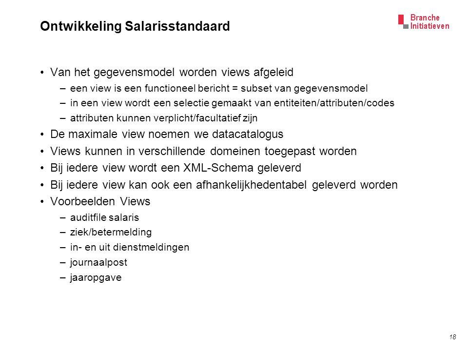 18 Ontwikkeling Salarisstandaard Van het gegevensmodel worden views afgeleid –een view is een functioneel bericht = subset van gegevensmodel –in een v