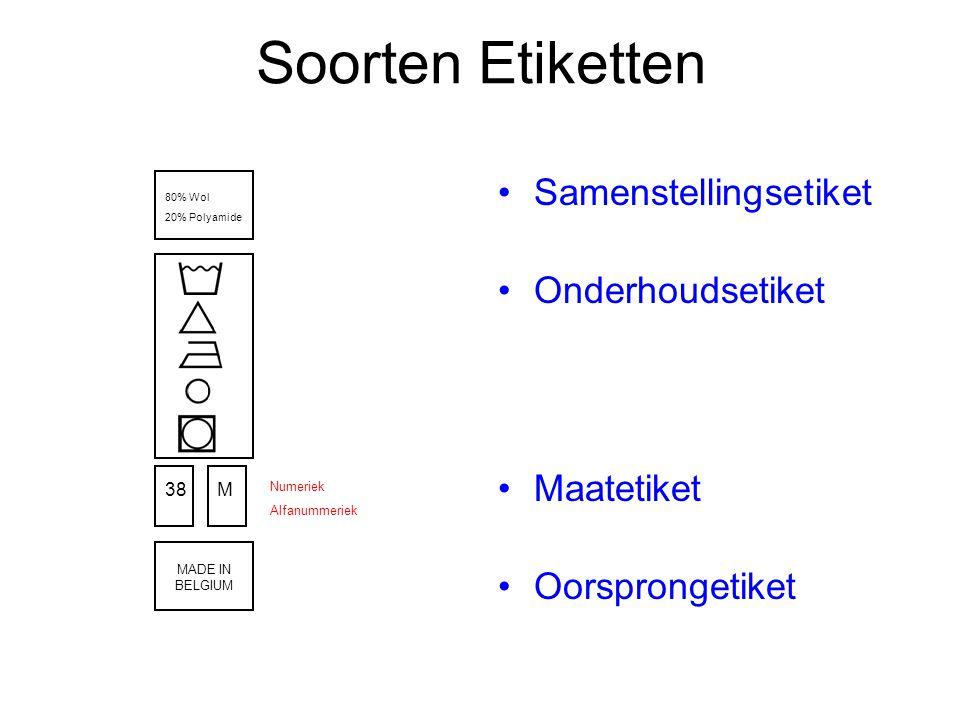 Soorten Etiketten Samenstellingsetiket Onderhoudsetiket Maatetiket Oorsprongetiket 80% Wol 20% Polyamide 38M Numeriek Alfanummeriek MADE IN BELGIUM
