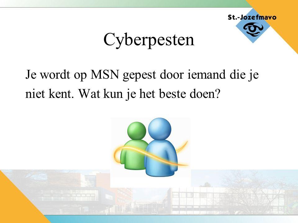 Cyberpesten Je wordt op MSN gepest door iemand die je niet kent. Wat kun je het beste doen