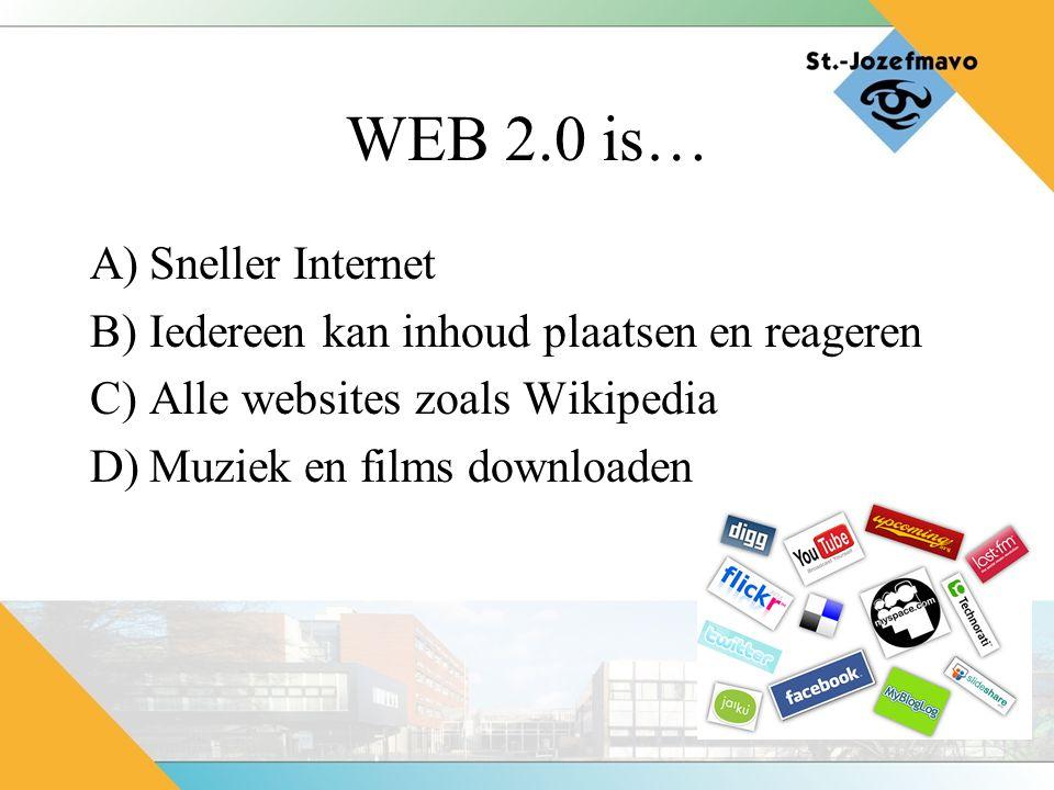 WEB 2.0 is… A)Sneller Internet B)Iedereen kan inhoud plaatsen en reageren C)Alle websites zoals Wikipedia D)Muziek en films downloaden