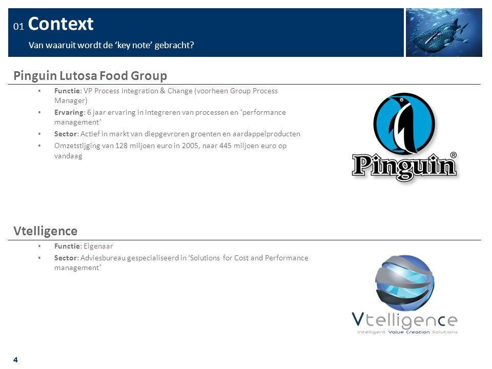 4 01 Context Van waaruit wordt de 'key note' gebracht? Pinguin Lutosa Food Group  Functie: VP Process Integration & Change (voorheen Group Process Ma