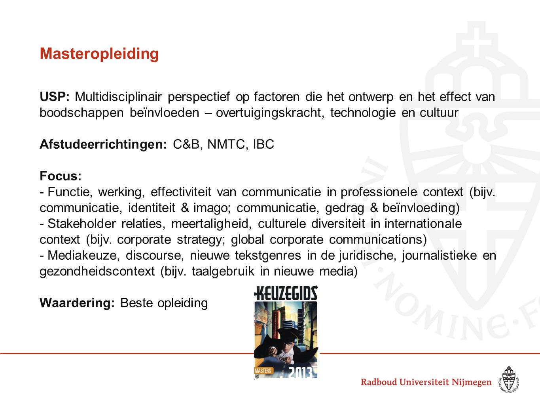 Masteropleiding USP: Multidisciplinair perspectief op factoren die het ontwerp en het effect van boodschappen beïnvloeden – overtuigingskracht, techno