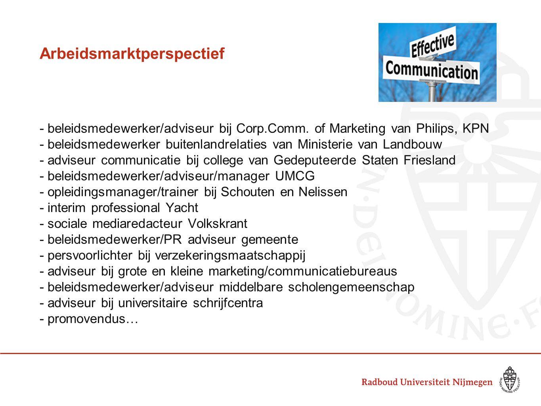 Arbeidsmarktperspectief - beleidsmedewerker/adviseur bij Corp.Comm. of Marketing van Philips, KPN - beleidsmedewerker buitenlandrelaties van Ministeri