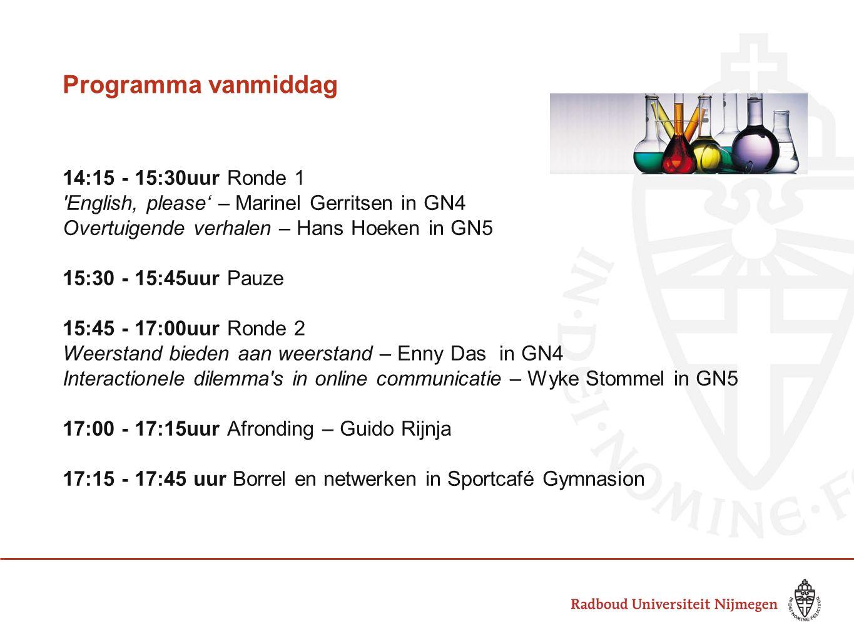 Programma vanmiddag 14:15 - 15:30uur Ronde 1 'English, please' – Marinel Gerritsen in GN4 Overtuigende verhalen – Hans Hoeken in GN5 15:30 - 15:45uur