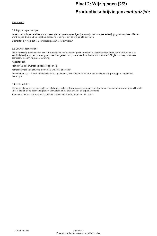 02 August 2007Versie 0.2 Praatplaat scheiden vraag/aanbod I.r.t bisl/asl Plaat 2: Wijzigingen (2/2) Productbeschrijvingen aanbodzijde Aanbodzijde 5.2