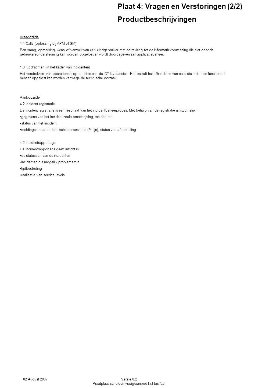 02 August 2007Versie 0.2 Praatplaat scheiden vraag/aanbod I.r.t bisl/asl Vraagdzijde 1.1 Calls (oplossing bij APM of SM) Een vraag, opmerking, wens of