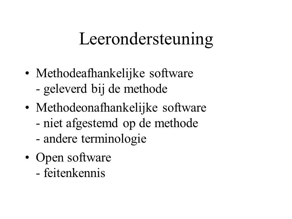 Leerondersteuning Methodeafhankelijke software - geleverd bij de methode Methodeonafhankelijke software - niet afgestemd op de methode - andere termin
