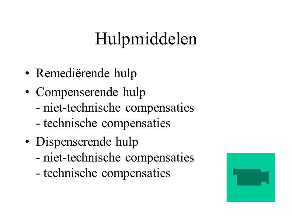 Hulpmiddelen Remediërende hulp Compenserende hulp - niet-technische compensaties - technische compensaties Dispenserende hulp - niet-technische compen
