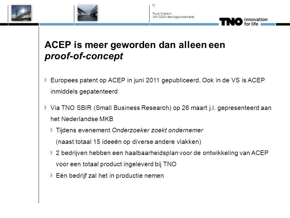 ACEP is meer geworden dan alleen een proof-of-concept Ruud Overduin WS C2000 dekkingsproblematiek 10 Europees patent op ACEP in juni 2011 gepubliceerd