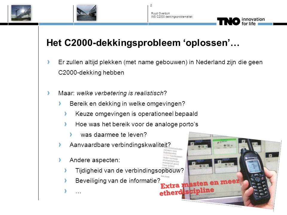 Het C2000-dekkingsprobleem 'oplossen'… Er zullen altijd plekken (met name gebouwen) in Nederland zijn die geen C2000-dekking hebben Maar: welke verbetering is realistisch.