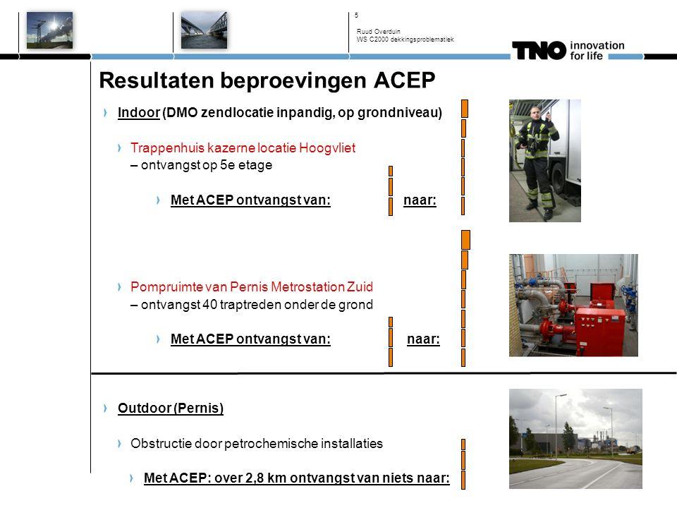 Resultaten beproevingen ACEP Indoor (DMO zendlocatie inpandig, op grondniveau) Trappenhuis kazerne locatie Hoogvliet – ontvangst op 5e etage Met ACEP