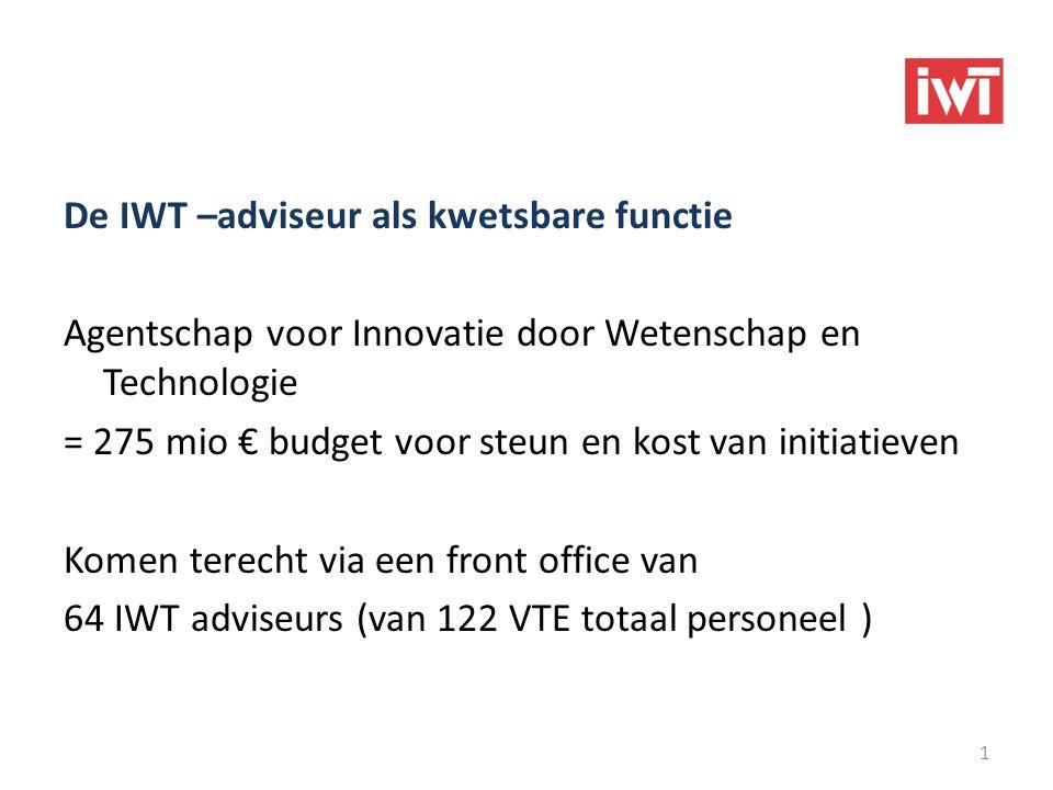 De IWT –adviseur als kwetsbare functie Agentschap voor Innovatie door Wetenschap en Technologie = 275 mio € budget voor steun en kost van initiatieven Komen terecht via een front office van 64 IWT adviseurs (van 122 VTE totaal personeel ) Info en Contact i.v.m deze bijdrage : Michel Vandermeulen – 02 432 42 64 1