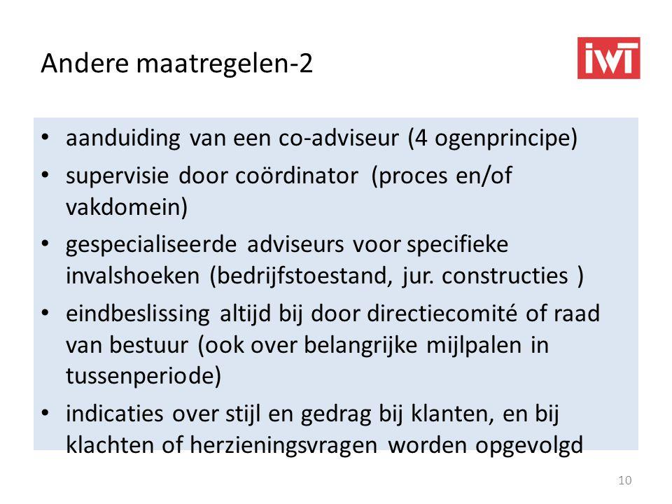 Andere maatregelen-2 aanduiding van een co-adviseur (4 ogenprincipe) supervisie door coördinator (proces en/of vakdomein) gespecialiseerde adviseurs voor specifieke invalshoeken (bedrijfstoestand, jur.