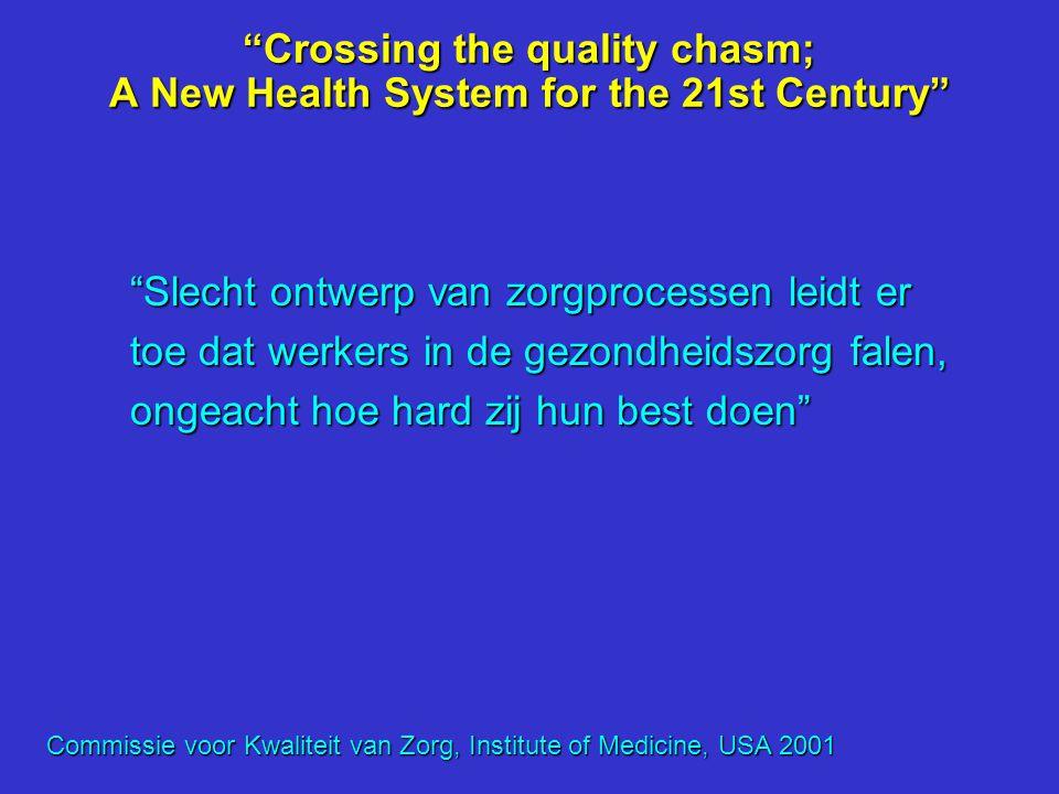 """""""Crossing the quality chasm; A New Health System for the 21st Century"""" """"Ondanks dat ongeveer 40% van de chronisch zieken multi- morbiditeit heeft die"""
