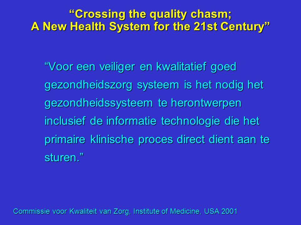 """""""Crossing the quality chasm; A New Health System for the 21st Century"""" """"Slecht ontwerp van zorgprocessen leidt er toe dat werkers in de gezondheidszor"""