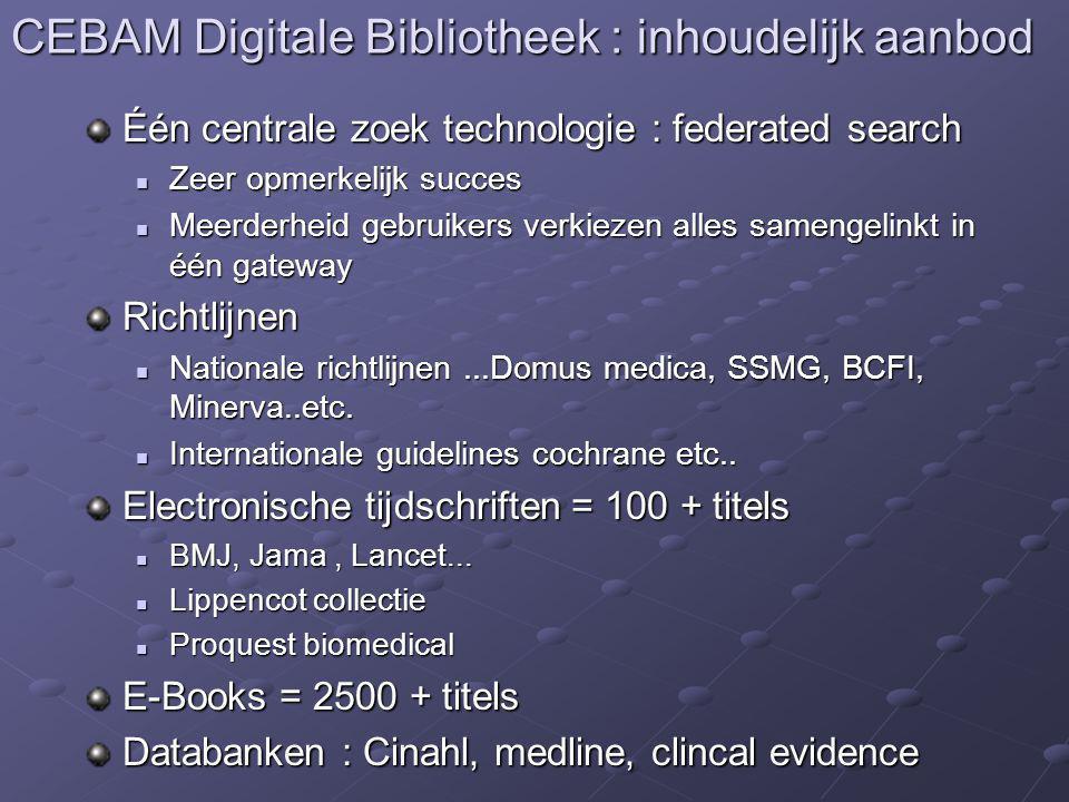 CEBAM Digitale Bibliotheek : inhoudelijk aanbod Één centrale zoek technologie : federated search Zeer opmerkelijk succes Zeer opmerkelijk succes Meerd