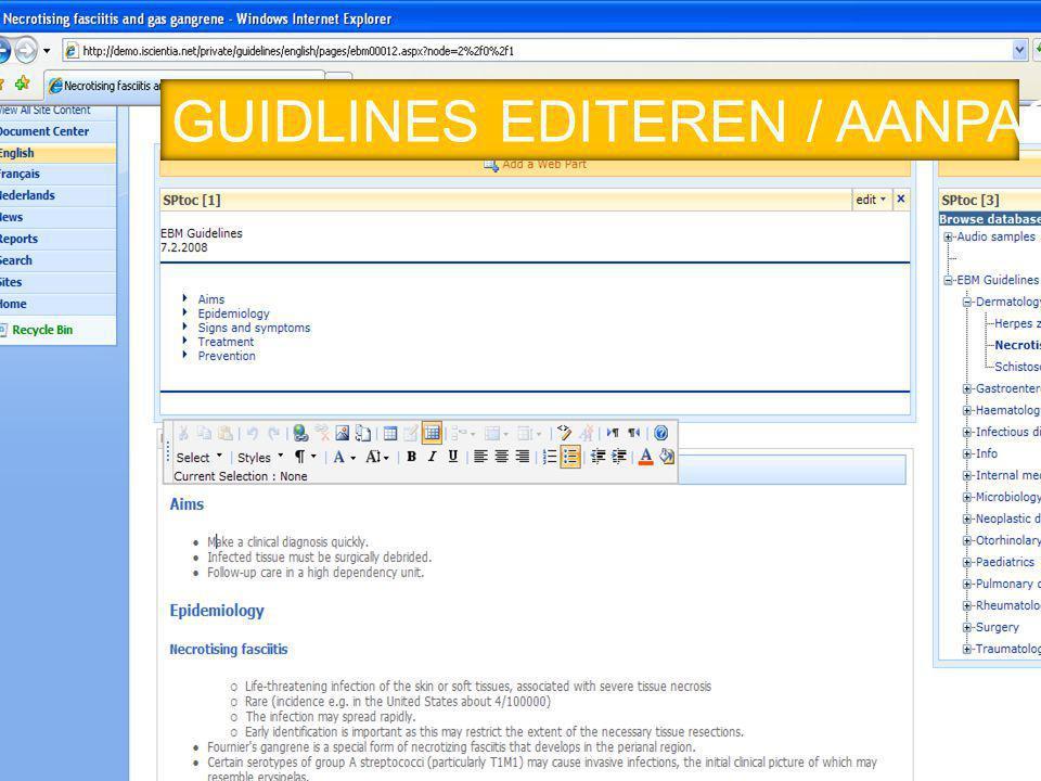 GUIDLINES EDITEREN / AANPASSEN