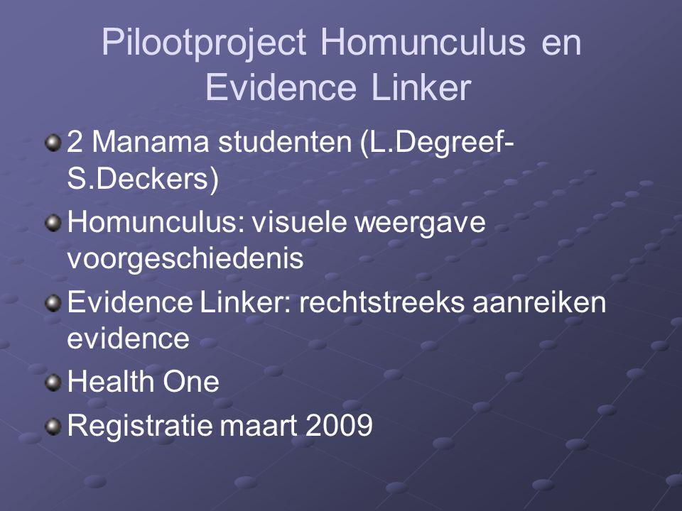 Pilootproject Homunculus en Evidence Linker 2 Manama studenten (L.Degreef- S.Deckers) Homunculus: visuele weergave voorgeschiedenis Evidence Linker: r