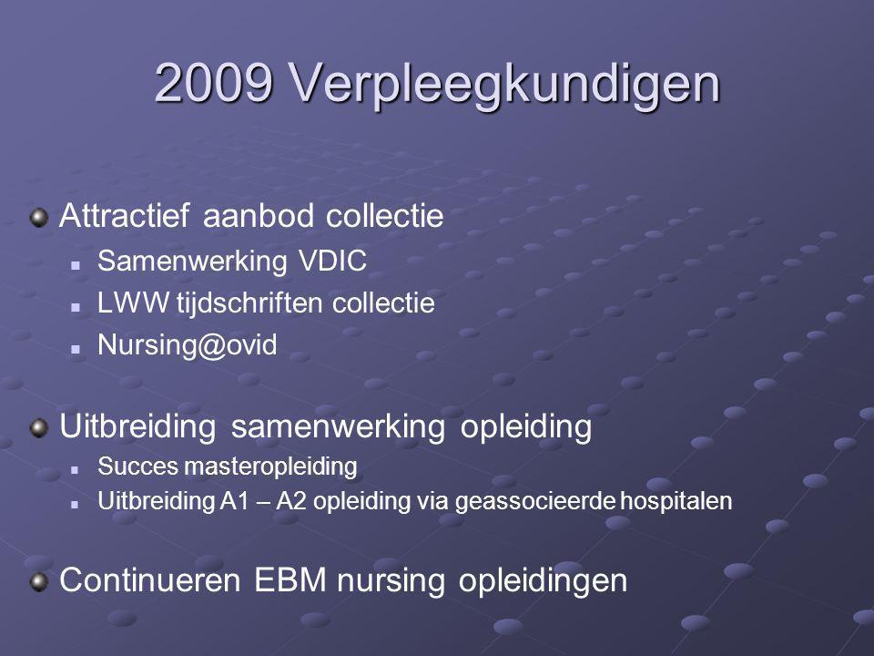 2009 Verpleegkundigen Attractief aanbod collectie Samenwerking VDIC LWW tijdschriften collectie Nursing@ovid Uitbreiding samenwerking opleiding Succes
