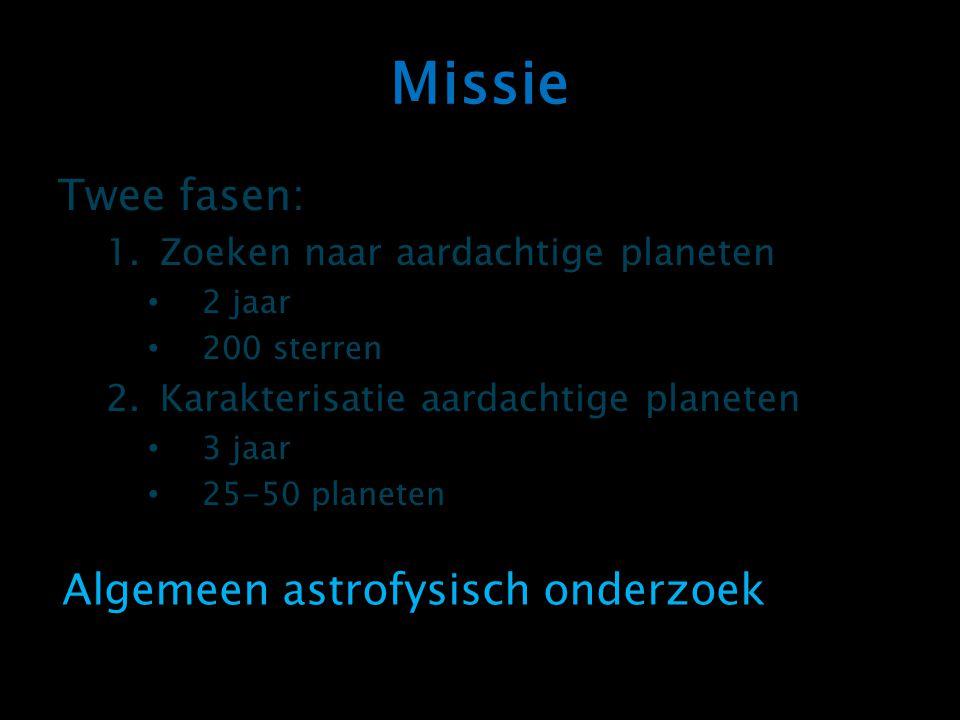 Missie Twee fasen: 1.Zoeken naar aardachtige planeten 2 jaar 200 sterren 2.Karakterisatie aardachtige planeten 3 jaar 25-50 planeten Algemeen astrofys
