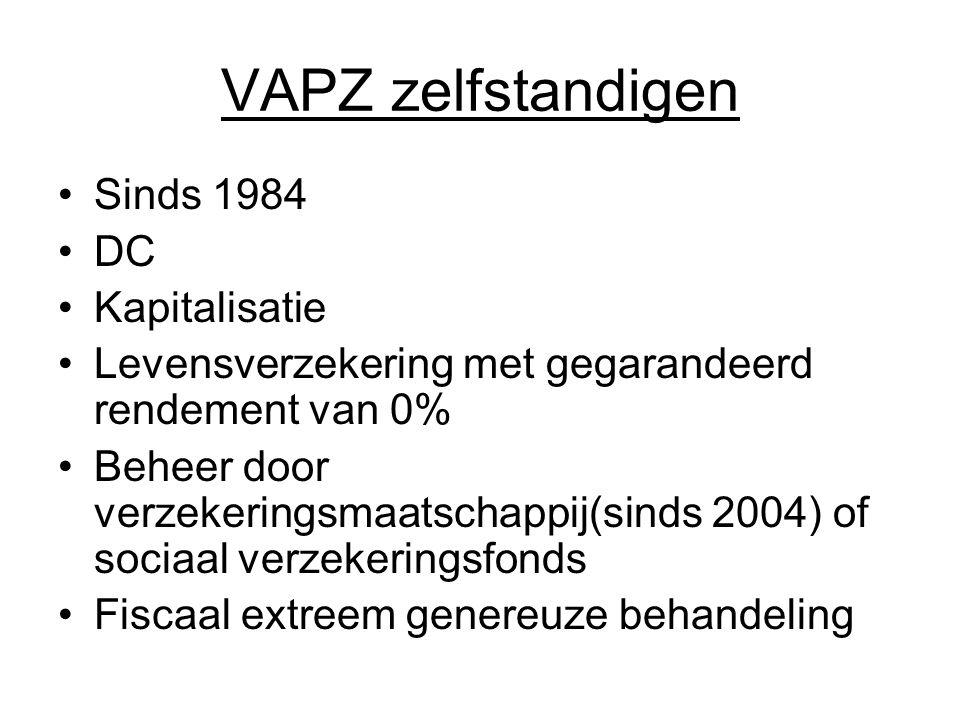 VAPZ zelfstandigen Sinds 1984 DC Kapitalisatie Levensverzekering met gegarandeerd rendement van 0% Beheer door verzekeringsmaatschappij(sinds 2004) of