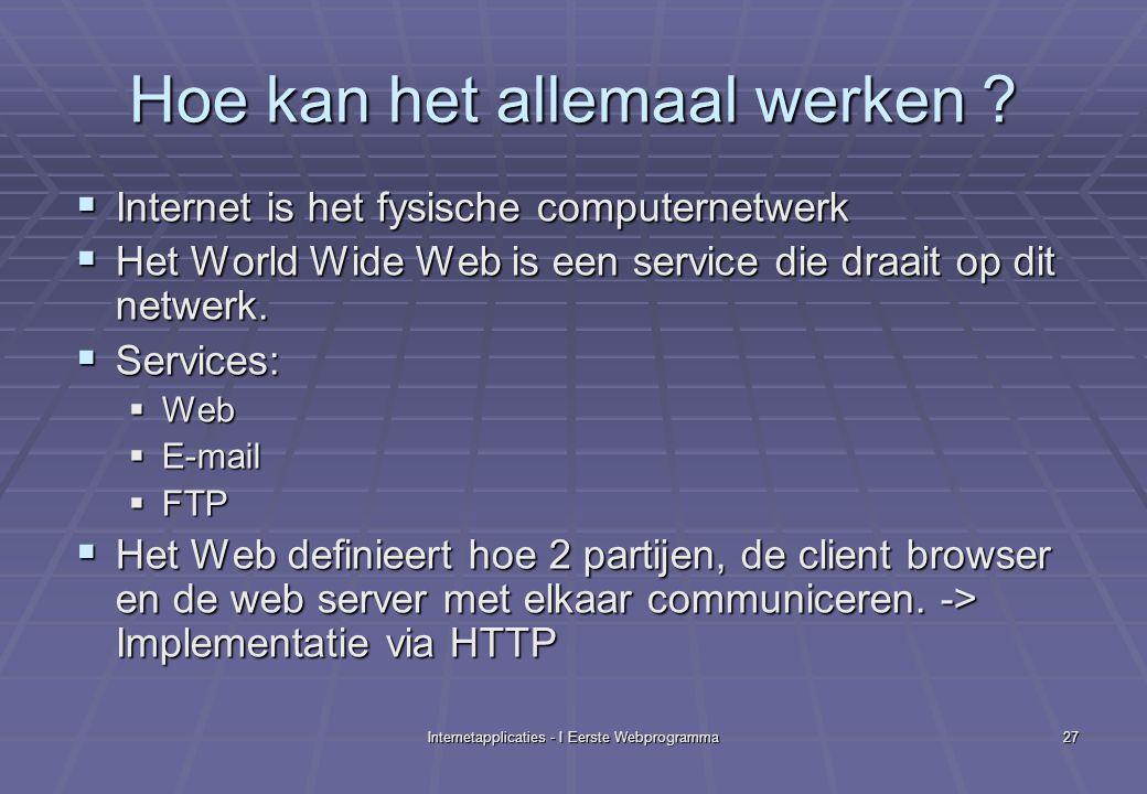 Internetapplicaties - I Eerste Webprogramma27 Hoe kan het allemaal werken .