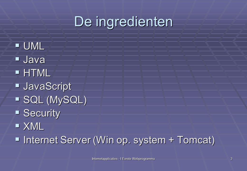 Internetapplicaties - I Eerste Webprogramma14 Configuratie Win XP/Win 2000  Win XP/Win 2000  Settings/Control Panel/System/…  …/Advanced tab/Environment variables  System Variables  NAMEVALUE  JAVA_HOMEc:\j2sdk1.4.2_01  CATALINA_HOMEc:\jakarta-tomcat- 4.1.27