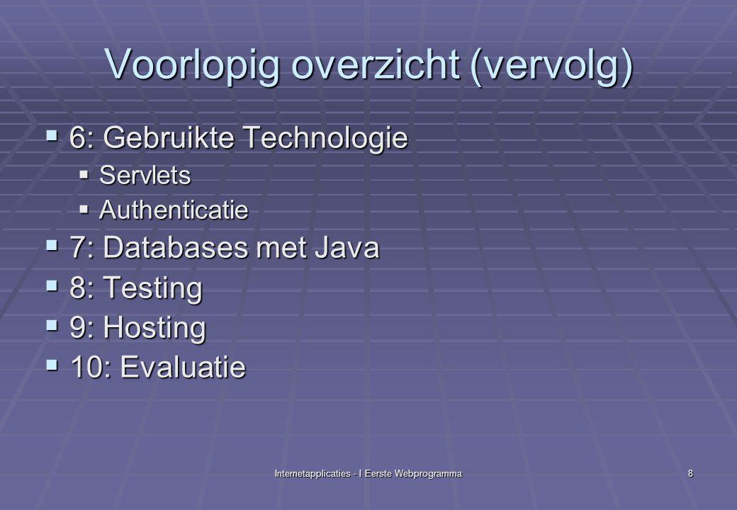 Internetapplicaties - I Eerste Webprogramma8 Voorlopig overzicht (vervolg)  6: Gebruikte Technologie  Servlets  Authenticatie  7: Databases met Java  8: Testing  9: Hosting  10: Evaluatie
