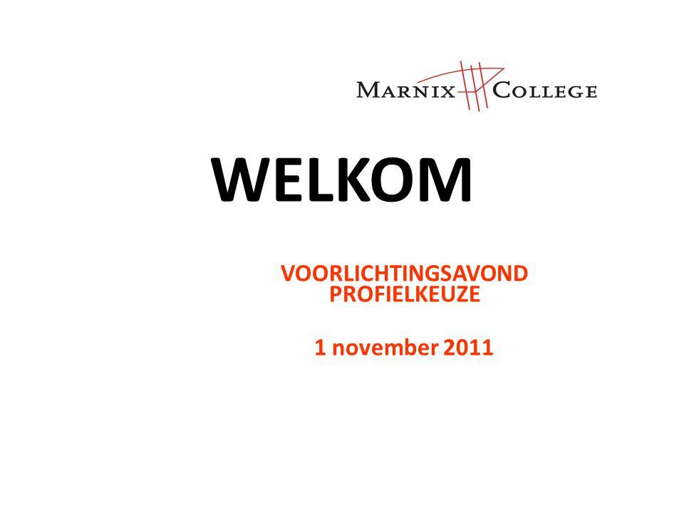 WELKOM VOORLICHTINGSAVOND PROFIELKEUZE 1 november 2011
