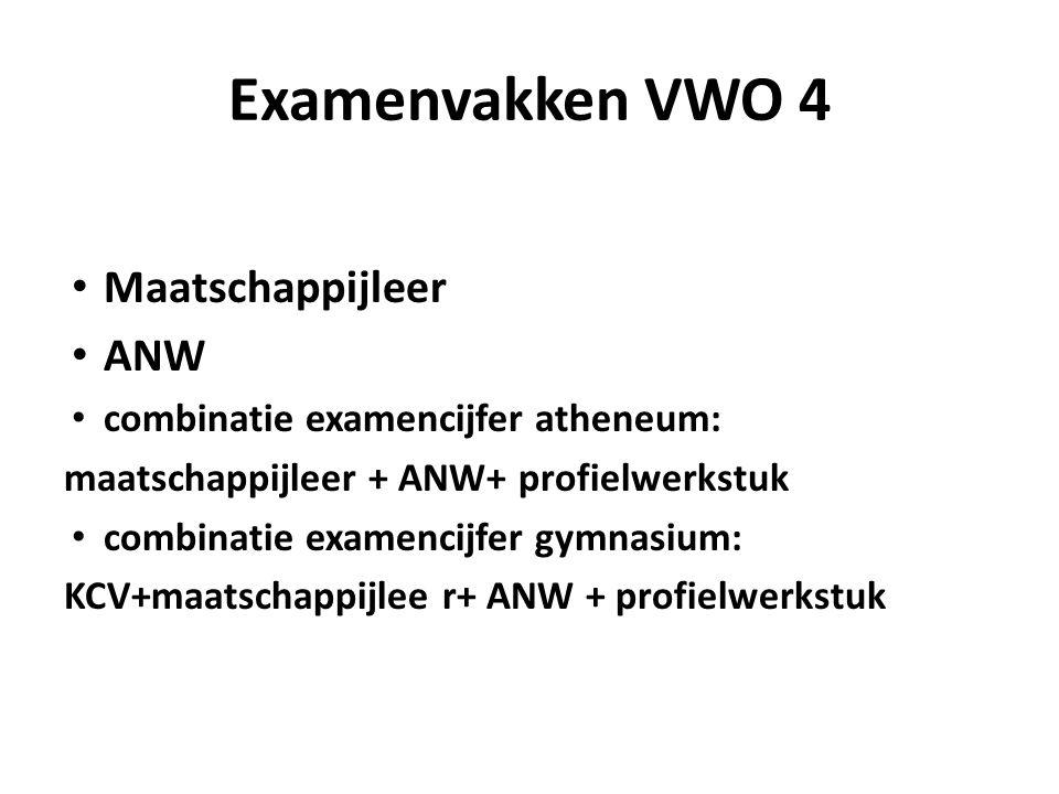 Examenvakken VWO 4 Maatschappijleer ANW combinatie examencijfer atheneum: maatschappijleer + ANW+ profielwerkstuk combinatie examencijfer gymnasium: KCV+maatschappijlee r+ ANW + profielwerkstuk