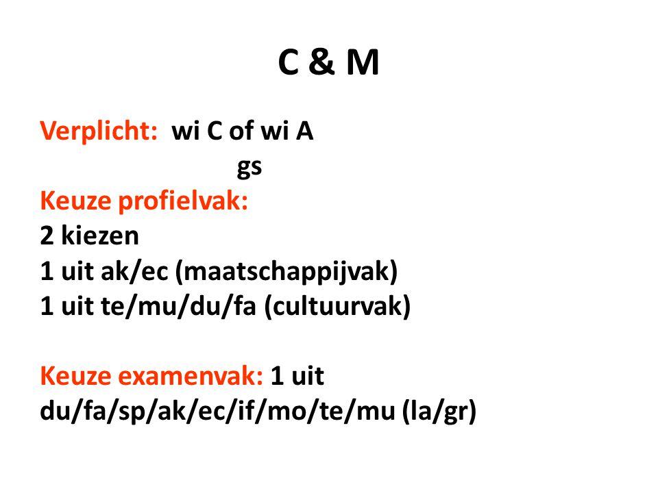 C & M Verplicht: wi C of wi A gs Keuze profielvak: 2 kiezen 1 uit ak/ec (maatschappijvak) 1 uit te/mu/du/fa (cultuurvak) Keuze examenvak: 1 uit du/fa/sp/ak/ec/if/mo/te/mu (la/gr)