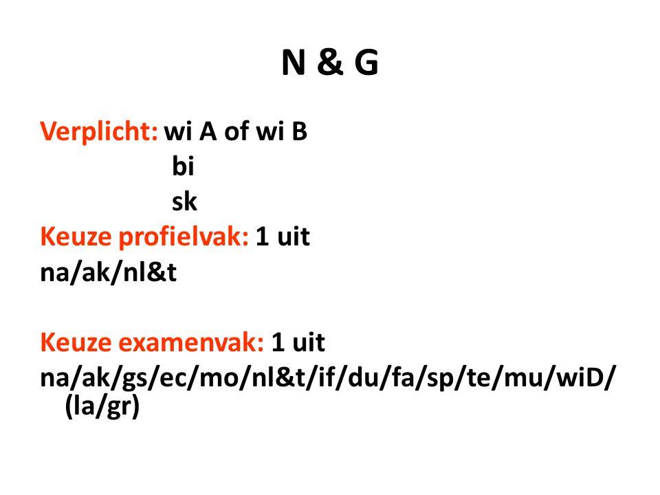 N & G Verplicht: wi A of wi B bi sk Keuze profielvak: 1 uit na/ak/nl&t Keuze examenvak: 1 uit na/ak/gs/ec/mo/nl&t/if/du/fa/sp/te/mu/wiD/ (la/gr)