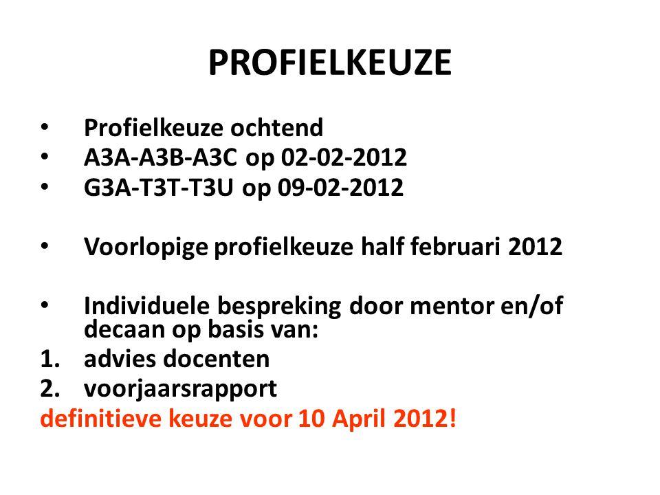 PROFIELKEUZE Profielkeuze ochtend A3A-A3B-A3C op 02-02-2012 G3A-T3T-T3U op 09-02-2012 Voorlopige profielkeuze half februari 2012 Individuele bespreking door mentor en/of decaan op basis van: 1.advies docenten 2.voorjaarsrapport definitieve keuze voor 10 April 2012!