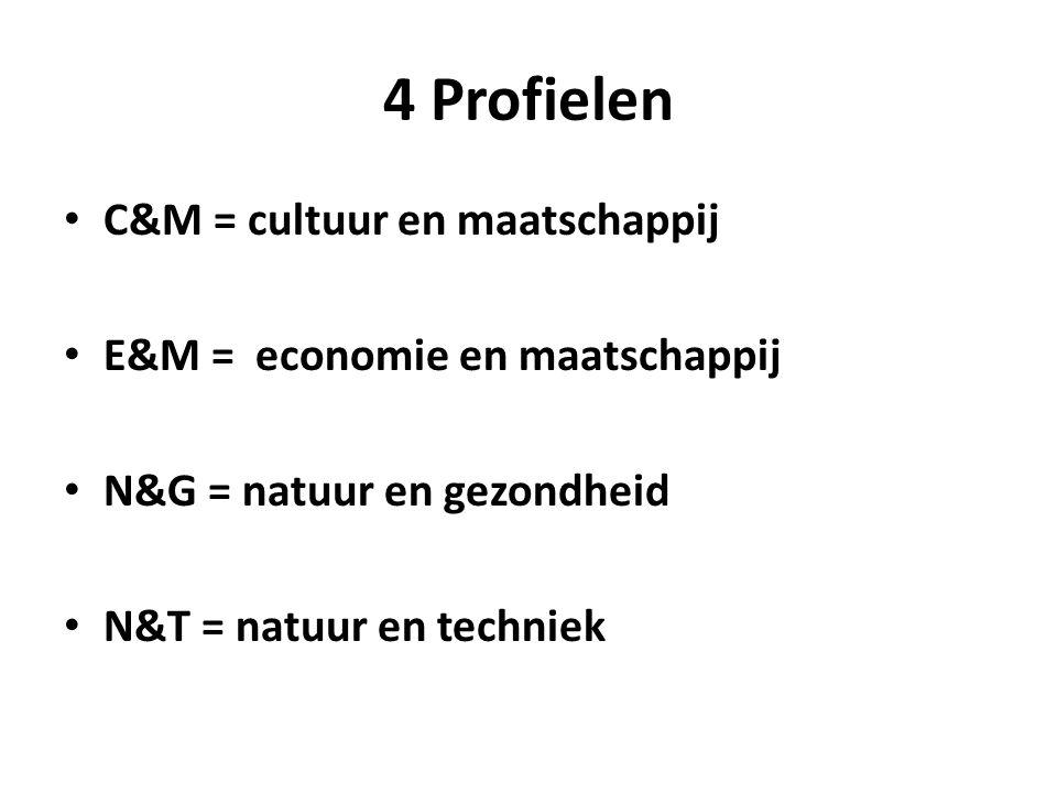 4 Profielen C&M = cultuur en maatschappij E&M = economie en maatschappij N&G = natuur en gezondheid N&T = natuur en techniek