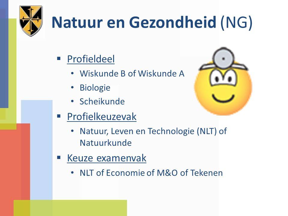 Natuur en Gezondheid (NG)  Profieldeel Wiskunde B of Wiskunde A Biologie Scheikunde  Profielkeuzevak Natuur, Leven en Technologie (NLT) of Natuurkun